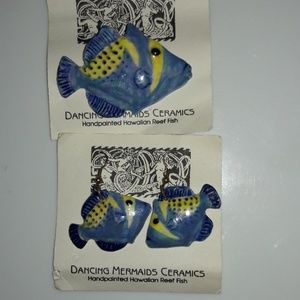 Ceramic Hawaiian Earring Pin Set Reef Fish New